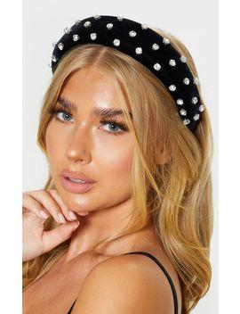 Black Velvet Diamante Chunky Headband by Prettylittlething