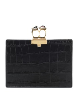 Jewelled Small Double Ring Leather Clutch by Alexander Mc Queen