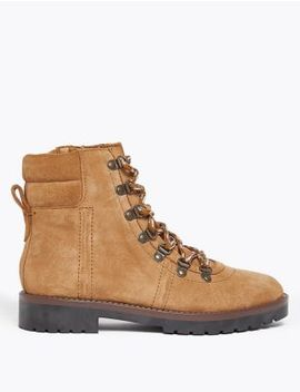 Suede Lace Up Hiker Ankle Boots by Marks & Spencer