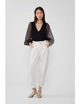 Contrast Top With Full Sleeves Shirtstrf by Zara