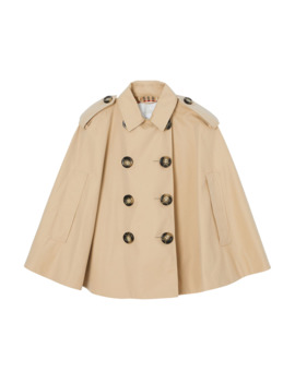 Leanne Trench Coat Style Cape, Size M L by Burberry