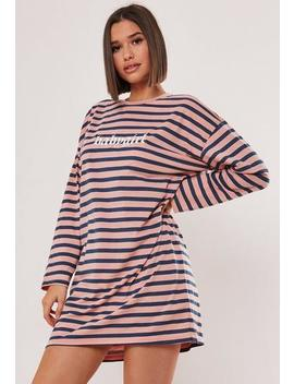 Pink Striped Babygirl Slogan T Shirt Dress by Missguided