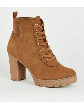 Wide Fit Tan Lace Up Heeled Hiker Boots by New Look