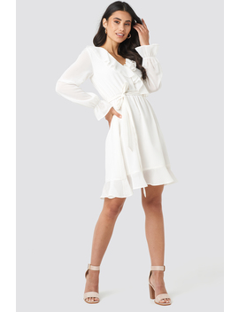 Flounce Chiffon Mini Dress White by Na Kd
