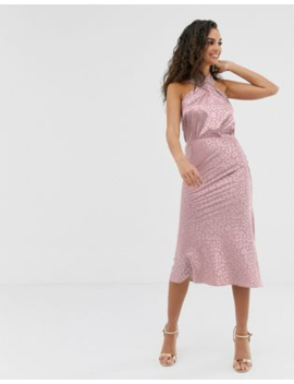 Outrageous Fortune Midi Slip Skirt In Pink Texture by Outrageous Fortune