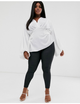 Asos Design Curve Long Sleeve Plunge Top With Tie Waist by Asos Design