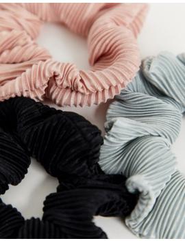 Asos Design Pack Of 3 Plisse Scrunchies In Neutral Tones by Asos Design