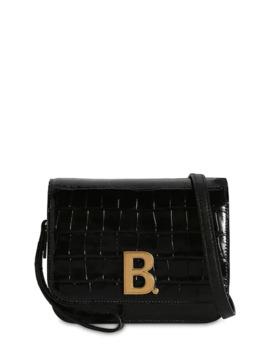 Sm Bdot Croc Embossed Leather Bag by Balenciaga