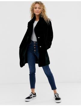 New Look Faux Fur Coat In Black by New Look