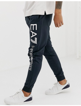 Ea7 Leg Logo Sweat Joggers In Navy by Ea7