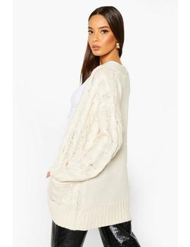 Cable Knit Button Through Cardigan by Boohoo