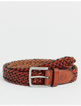Timberland Woven Leather Belt In Tan by Timberland