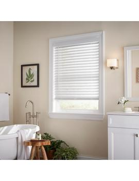 White Cordless 2 In. Faux Wood Blind   37 In. W X 48 In. L (Actual Size 36.5 In. W X 48 In. L) by Home Decorators Collection