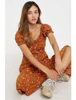 Dot & X Tan Floral Button Through Ruffle Midi Dress by Dot &Amp; X