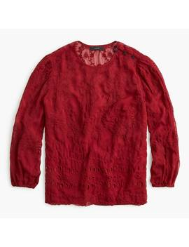 Mixed Embroidery Drapey Top by J.Crew