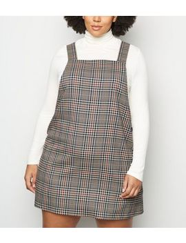 Curves Off White Check Pinafore Dress by New Look