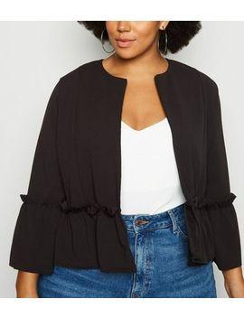 Curves Black Ruffle Hem Jacket by New Look