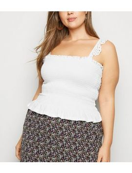Curves White Shirred Broderie Frill Cami by New Look