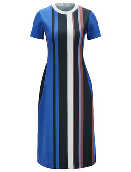 Short Sleeved Dress In Stretch Jersey With Printed Stripes by Boss
