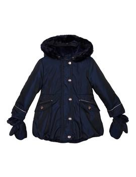 Girls' Navy Shower Resistant Parka Coat by Baker By Ted Baker