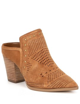 Nora Perforated Suede Block Heel Mules by Gibson &Amp; Latimer