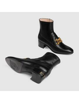Women's Leather Horsebit Chain Boot by Gucci