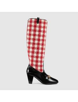 gucci-zumi-check-tweed-knee-boot by gucci