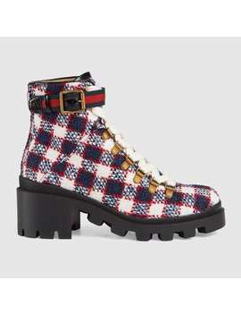check-tweed-ankle-boot by gucci