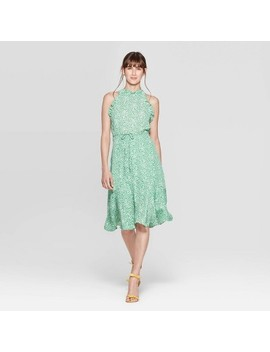 womens-sleeveless-halter-neck-a-line-dress---who-what-wear-green_white by who-what-wear-green_white