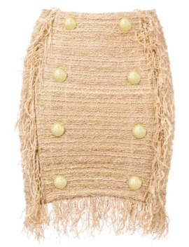 Fringed Tweed Mini Skirt by Balmain