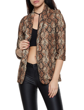 Snake Print Open Front Blazer by Rainbow