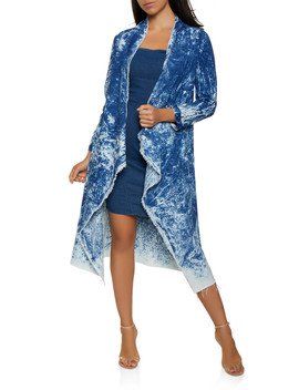 Drape Front Acid Wash Chambray Duster by Rainbow