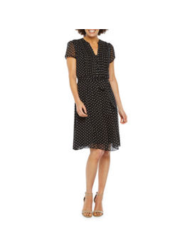 Msk Short Sleeve Dot Shirt Dress by Msk