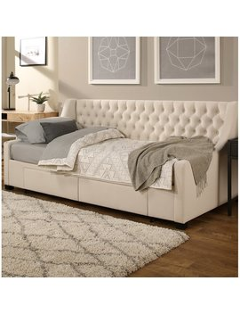 Ivory Aron Upholstery Storage Twin Daybed by Darby Home Co