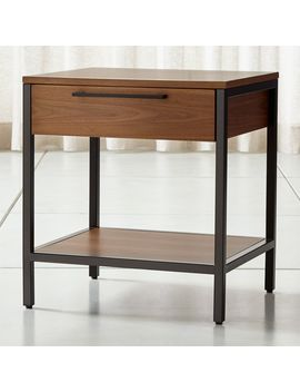 James Walnut With Black Frame Nightstand by Crate&Barrel