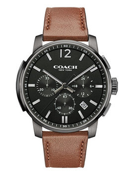 Men's Bleecker Chrono Brown Leather Strap Watch 42 Mm 14602017, Macy's Exclusive by General