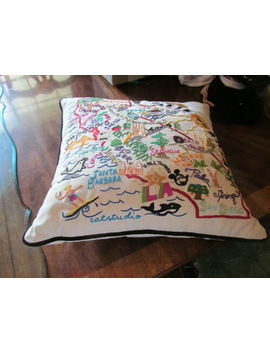 "Catstudio California Throw Pillow Hand Embroidered 20"" X 20"" Nwt by Catstudio"