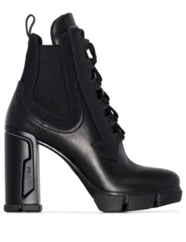 Lace Up 110mm Military Ankle Boots by Prada