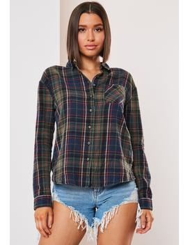 Green Brushed Cotton Check Shirt by Missguided