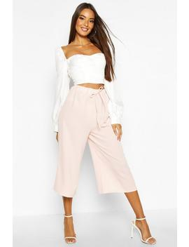 Basic Tie Waist Woven Crepe Culottes by Boohoo