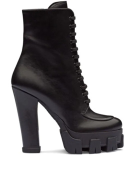 Lace Up Booties by Prada