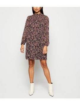 Petite Black Ditsy Floral Chiffon Smock Dress by New Look