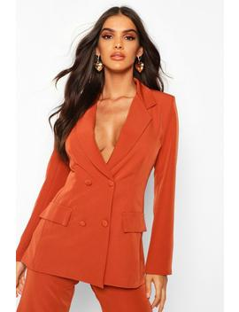 Woven Double Breasted Pocket Detail Blazer by Boohoo