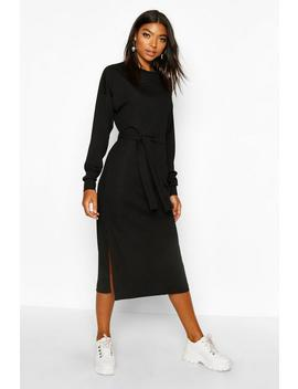 Tall Rib Belted T Shirt Dress by Boohoo