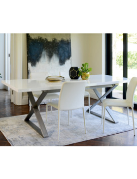 Crossed Leg Gloss Extending 6 10 Seater Dining Table Brushed Steel Leg White by Dwell