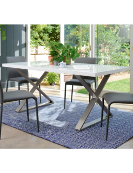 Crossed Leg Gloss 6 Seater Dining Table Brushed Steel Leg White by Dwell