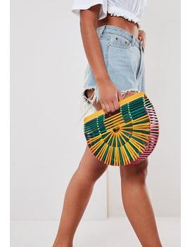 Multi Coloured Bamboo Half Moon Cage Bag by Missguided