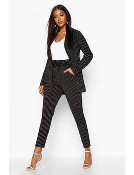 Pinstripe Belted Tapered Trouser by Boohoo