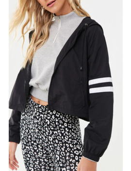 Striped Trim Hooded Windbreaker by Forever 21