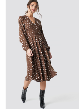 Wrapped Dot Midi Dress Brązow by Na Kd Boho